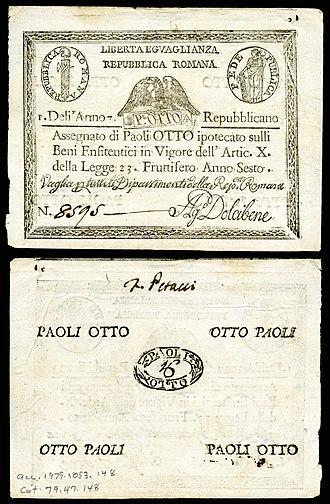Assignat - Image: ITA S538 Italian States assignat 8 Paoli (1798)