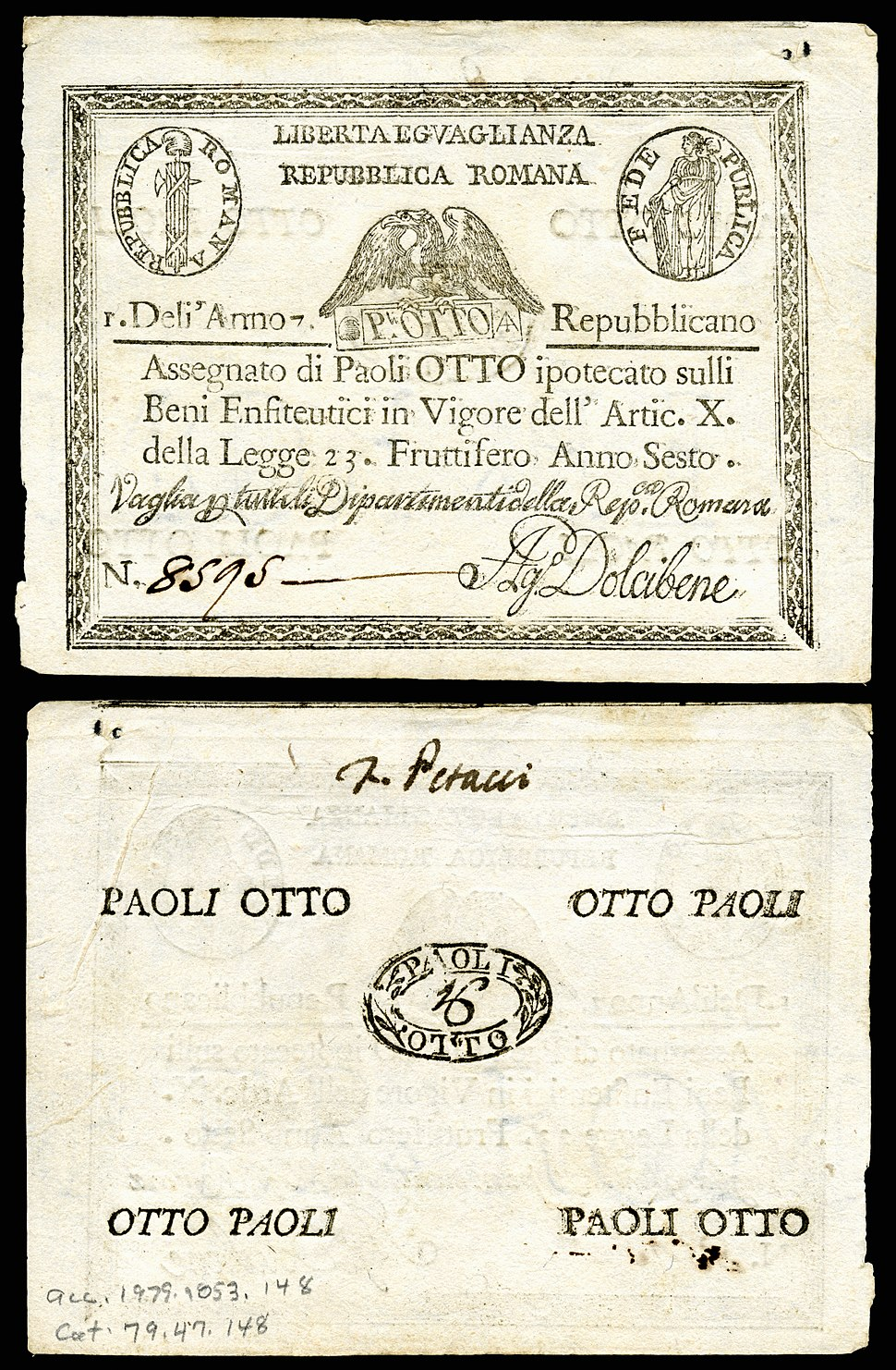 ITA-S538-Italian States assignat-8 Paoli (1798)