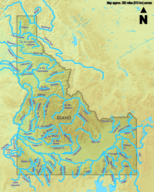 Clickable map of all Idaho streams more than 50 miles (80 kilometers) long