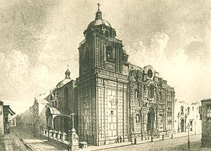 Basilica of Nuestra Señora de la Merced (Lima) - Detail of the Tower, main gate and side door of the Church of Our Lady of Mercy in the 19th century
