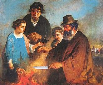 Ignazio Manzoni - Gaucho teaching a foreigner his style of carving a roast pork (El Asado).