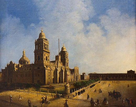 Mexico City Metropolitan Cathedral's (1571-1813) 18th century painting. The cathedral was built by the Spaniards over the ruins of the main Aztec temple. Ignacio Serrano - Catedral de Mexico.jpg