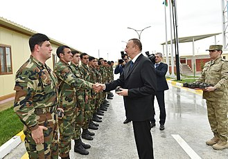 2016 Nagorno-Karabakh clashes - Azerbaijani President Ilham Aliyev gives awards to the serviceman of the military unit in Tartar district. 1 May 2016
