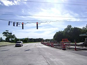 Illinois Route 22 - Looking west at Milwaukee Avenue during intersection expansion. (June 2010)
