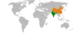 Map indicating locations of India and China