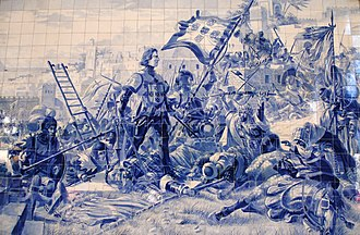 Conquest of Ceuta - Panel of azulejos by Jorge Colaço (1864-1942) at the São Bento railway station, depicting Prince Henry the Navigator during the conquest of Ceuta