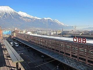 Innsbruck Hauptbahnhof railway station in Austria