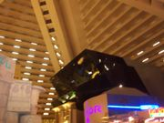 The view inside the Luxor.  The large black shape is the IMAX theater.