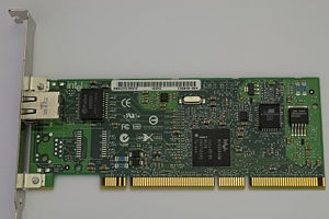 Gigabit Ethernet - 1000BASE-T capable network interface card made by Intel, which connects to the computer via PCI-X