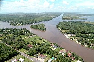 Jean Lafitte, Louisiana - A portion of Jean Lafitte, Louisiana, along the Gulf Intracoastal Waterway and Bayou Barataria