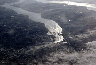 Orwell Bridge - View from the air in February 2010 from an aircraft en-route to Stansted from Prague