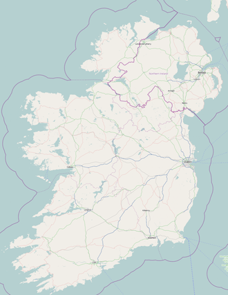 Roads in Ireland - Ireland. Motorways shown in blue, primary roads (N, A) shown in green.  (OpenStreetMap mapping)