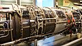 J79-IHI-11A turbojet engine(cutaway model) afterburner & turbine, combustion section right rear view at JASDF Hamamatsu Air Base Publication Center November 24, 2014.jpg
