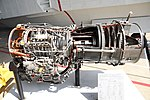 JMSDF US-1A T64-IHI-10E turboprop engine(cutaway model) left side view at MCAS Iwakuni May 5, 2019.jpg