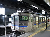 JNR 113 refurbished 'C' set San'in Main Line rapid service at Kyoto.jpg