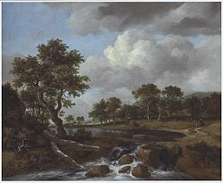 Jacob van Ruisdael: Wooded Landscape with a Shepherd and Low Waterfall