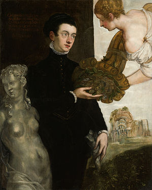 "Jacopo Strada - ""Portrait of Ottavio Strada"" (1567) by Tintoretto  He receives a cornucopia with coins from Fortuna while turning his back to Venus, an allusion to his study of ancient coins"