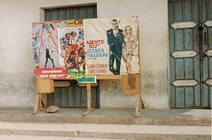 Cinema of Somalia - Old James Bond posters on a street corner in Somalia.