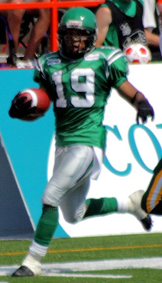 James Johnson (Canadian football) - Johnson returning an interception for the Saskatchewan Roughriders in 2007