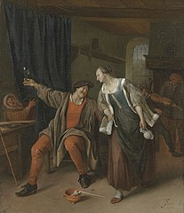 A peasant couple carousing in an inn