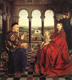 Saint Luke Drawing the Virgin - Jan van Eyck, Madonna of Chancellor Rolin, c. 1435. Louvre, Paris