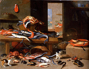 A lobster, a sturgeon, an eel and other fish on a table with a wicker basket, cats and a tortoise in the foreground with other fish and sea animals, a landscape through a doorway beyond.
