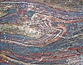 Jaspilite banded iron formation (Soudan Iron-Formation, Neoarchean, ~2.69 Ga; Stuntz Bay Road outcrop, Soudan Underground State Park, Soudan, Minnesota, USA) 17 (19224919885).jpg