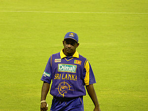 Sri Lankan cricketer Sanath Jayasuriya.