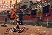 "Several dead men and various scattered weapons are located in a large arena. Near the center of the image is a man wearing armor standing in the middle of an arena looking up at a large crowd, the man has his right foot on the throat of an injured man who is reaching towards the crowd. Members of the crowd are indicating a ""thumbs down"" gesture. The arena is adorned with marble, columns, flags, and statues."