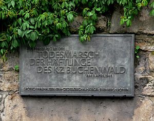 Death marches (Holocaust) - Memorial plaque to the victims of the death march in Jena