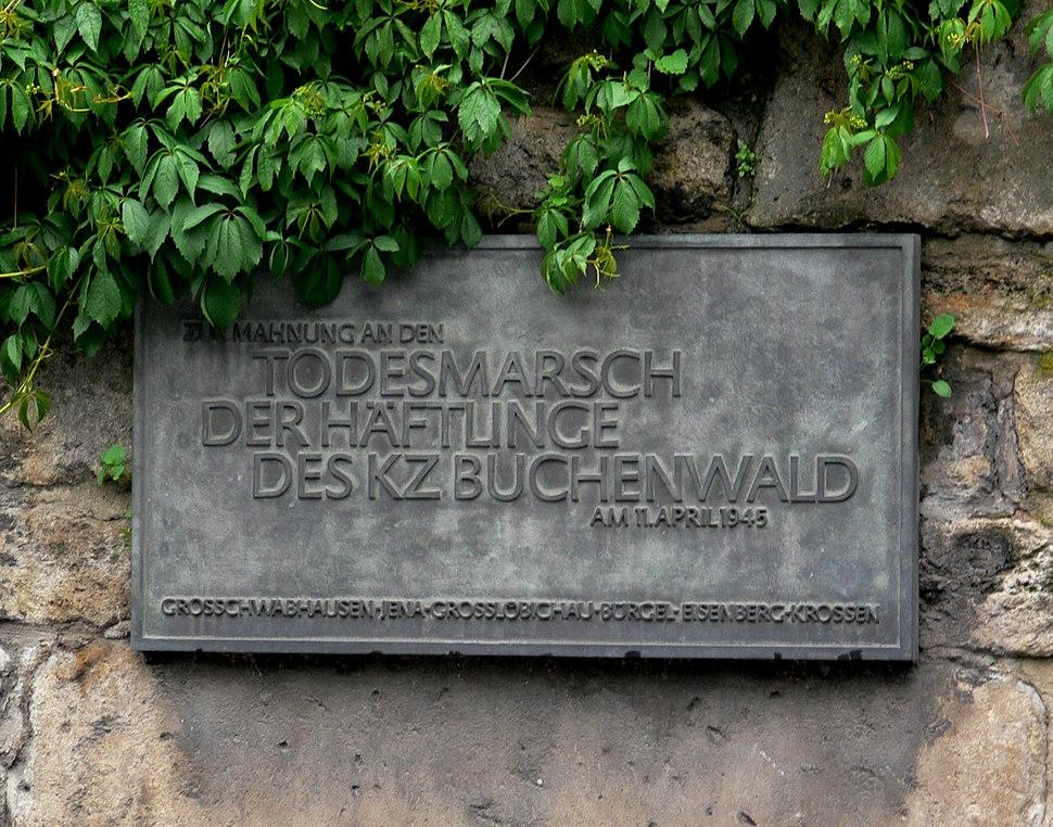 Jena Gedenktafel Todesmarsch Buchenwald