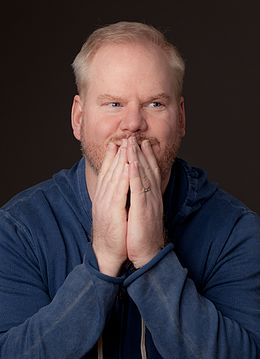 Jim Gaffigan making a goofy excited face, Jan 2014, NYC (cropped).jpg