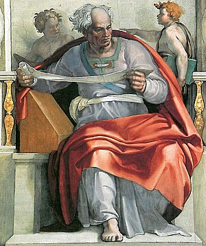 Joel (prophet) - Prophet Joel as imagined by Michelangelo (Fresco, Sistine Chapel Ceiling, 1508–1512).
