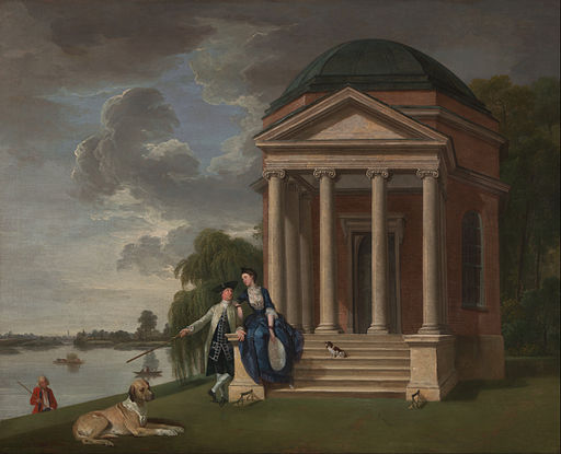 Johan Joseph Zoffany - David Garrick and his wife by his Temple to Shakespeare, Hampton - Google Art Project