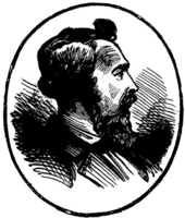 Profile drawing of a man with a high-collared shirt and jacket and a dark chest-length beard