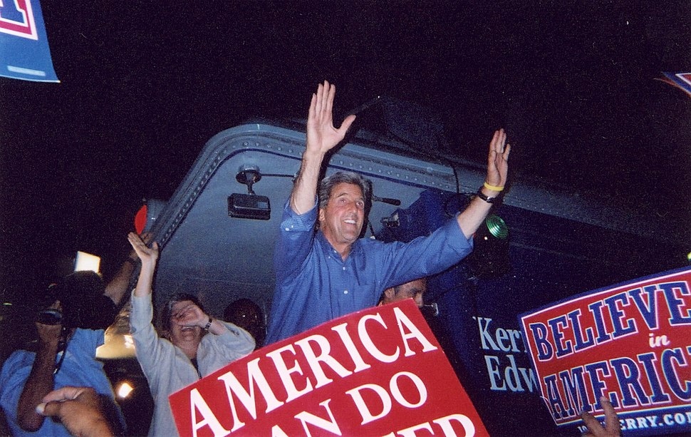 John Kerry on Caboose during 2004 Presidential Campaign Whistle Stop at La Posada Hotel, Winslow, AZ