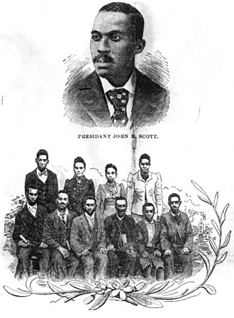 Edward Waters College - Drawing of John R. Scott and students.