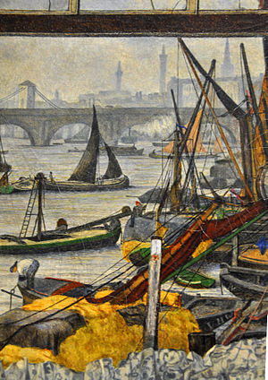 Thoughts of the Past - Detail of left-side background (possibly the Thames docks in London)