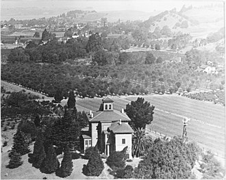John Muir National Historic Site - View from south over the house to the orchards in 1900