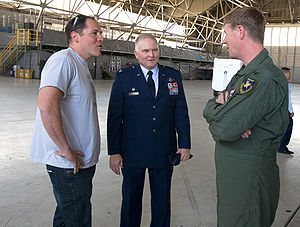 Iron Man 2 - Jon Favreau meeting with members of the U.S. Air Force while filming at Edwards Air Force Base.