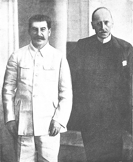 Joseph Stalin, General Secretary of the Communist Party and French author and Nobel laureate Romain Rolland, 1935 Joseph Stalin and Romain Rolland 1935.jpg