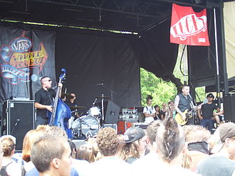 Psychobilly - Tiger Army, shown here performing on the 2007 Warped Tour, are one of the most significant American psychobilly acts.