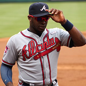 Justin Upton Braves vs Rangers Sept 2014.jpg