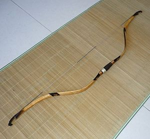 Composite bow - Reconstruction of a Ming dynasty Kaiyuan bow by Chinese bowyer Gao Xiang. This is a horn, bamboo, sinew composite.