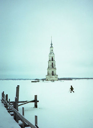 Kalyazin - The Flooded Belfry is a part of the flooded church and the most eye-catching landmark of Kalyazin