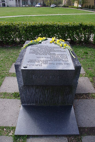 Dawid Moryc Apfelbaum - A memorial stone for the leaders of ŻZW in the Warsaw Ghetto Paweł Frenkiel and Dawid Moryc Apfelbaum on ul. Dubois (Dubois Street) in Warsaw. (Part of the Memorial Route of Jewish Martyrdom and Struggle in Warsaw)