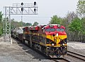 Kansas City Southern Railway - 4853 and 4816 diesel locomotives (Marion, Ohio, USA) 1 (42318749615).jpg