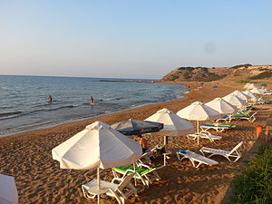 The beach in Davlos, which is home to a hotel