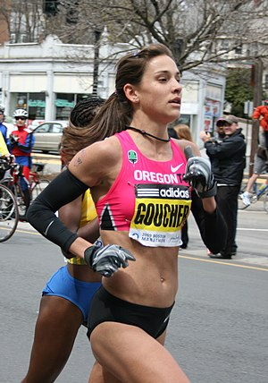 Kara Goucher at the 2009 Boston Marathon.