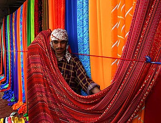 Textile - Textile market on the sidewalks of Karachi, Pakistan